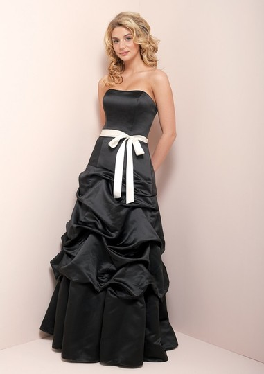 Mori Lee Black/White Satin 940 Formal Bridesmaid/Mob Dress Size 8 (M)