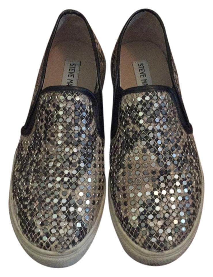 d48ae4be07f6 Steve Madden Studded Snake-print Faux Leather Slip-on Sneakers Flats ...