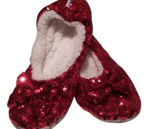 Snoozies Slippers Red Sequin Flats