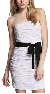 Express short dress White Strapless Ruched on Tradesy