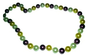 New 10mm Purple, Yellow and white Sea Shell Pearl Necklace 18