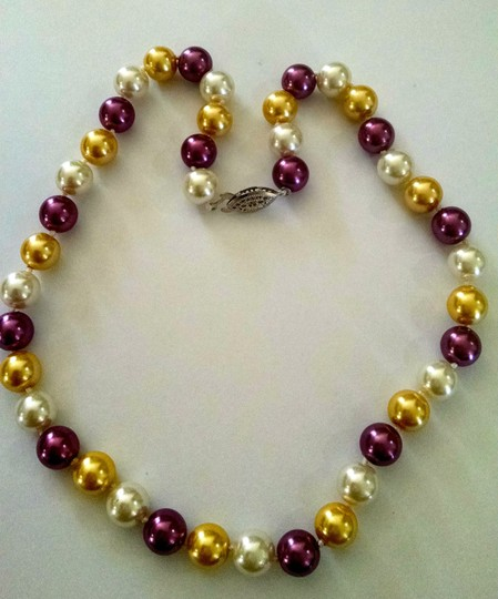 Other Purple, Yellow and white Sea Shell Pearl Necklace Locking Clasp J253