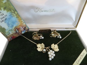 Krementz Vintage 14k Gold Clad Cultured Pearl Necklace and Earring set.