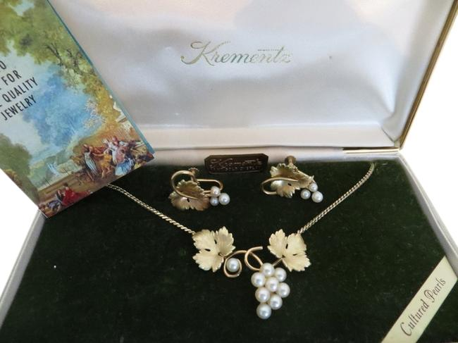 Item - Vintage 14k Gold Clad Cultured Pearl Necklace and Earring Set.