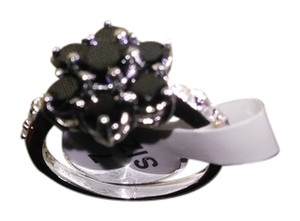 Black sapphire & white sapphires stone sterling silver stamped