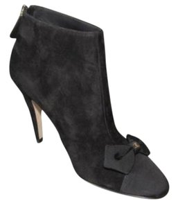 Chanel 15k Suede Cap Toe Bow Ankle Black Boots