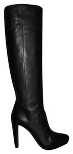 Prada Tall Leather Platform Knee Black Boots
