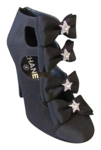 Chanel 15k Star Bow Open Ankle Black Boots