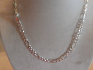 NEW UNISEX Sterling Silver Figaro Chain 16' 12.4 GRAMS