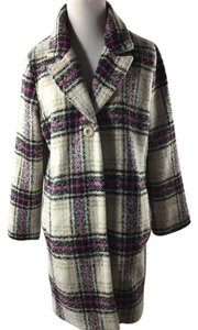 Anthropologie Elevenses Jacket Plaid Wool Pea Coat