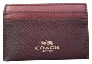 Coach NEW COACH Leather Card Case Business card holder Metallic Cherry red