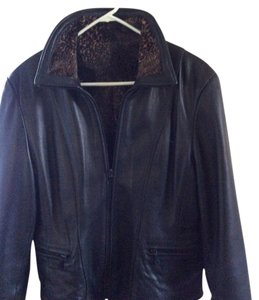 Black leather like butter soft/reversible animal print Leather Jacket