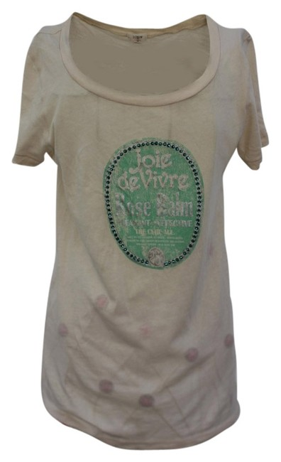 J.Crew T Shirt Ivory and Blue with Stone Work