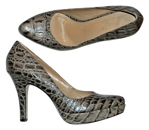 Talbots Animal Grey Reptile Croc Taupe Gray Platforms