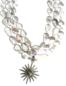 Independent Clothing Co. 3 Strand Pearl Necklace with Sunburst Diamond Pendant