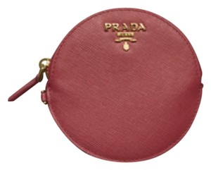 Prada Prada-Saffiano-Metallic-Gold-Leather-Coin-Purse Pink/RED-BRAND-NEW