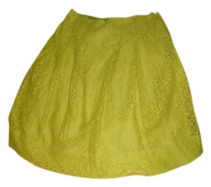 Anthropologie Lace Floral Lace Skirt Citron