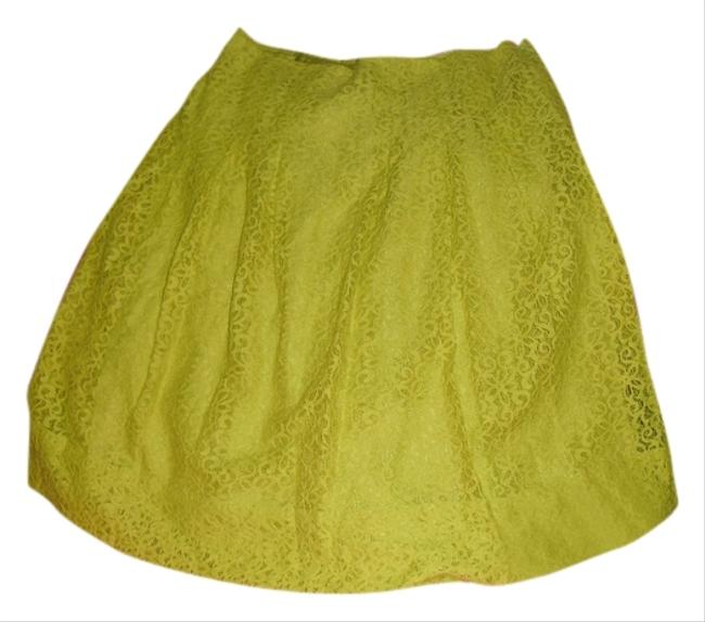 Anthropologie Lace Floral Lace Nylon Polyester Lining Side Zip Imported Hd From Paris Skirt Citron