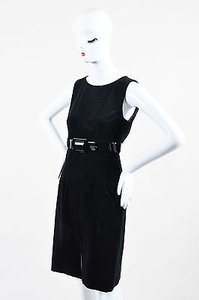 Chanel Cotton Cashmere Blend Corduroy Sleeveless Belted Sheath Dress