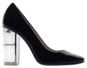 Zara Heels Patent Leather Transparent 6 Work Black Pumps