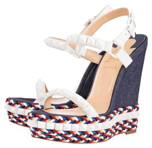 Christian Louboutin Studded Wedge Cataclou Blue, white, red Wedges