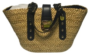 Michael Kors Raffia Tote in Natural Straw/Navy Blue Leather