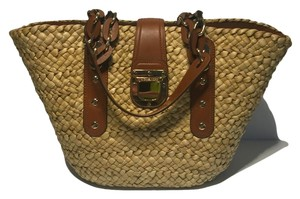 Michael Kors Santorini Straw Summer Cornhusk Tote in Natural Straw/Luggage Brown Leather