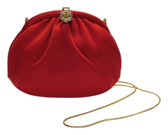 Item - Evening Bag With Crystal Embellished Clasp Red Satin Clutch