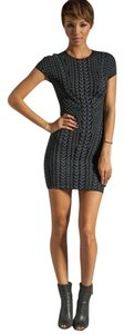 Torn by Ronny Kobo Bodycon Hardware Exposed Zipper Cap Sleeve Dress