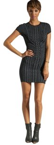 Torn by Ronny Kobo Cap Sleeve Exposed Zipper Bodycon Dress