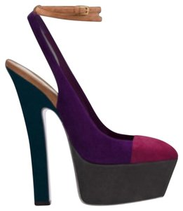 Saint Laurent Suede Pumps Ysl Colorblock Purple, pink, gray, green Platforms