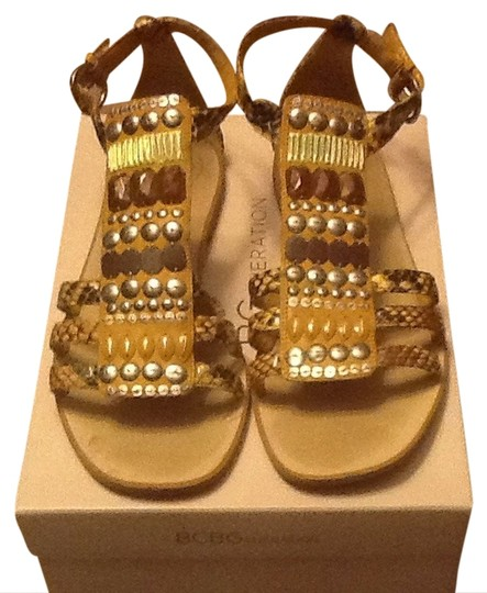 BCBGeneration Yellow Snakeskin Sandals