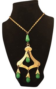 Vintage Gold and Jade toned necklace