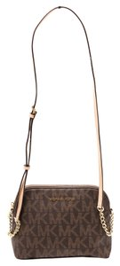 Michael Kors Mk Monogram Zip Top Cross Body Bag