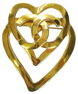 Chanel [EXCELLENT CONDITION] Auth CHANEL CC Logos Heart Motif Brooch Gold-tone 95P Accessory Vintage