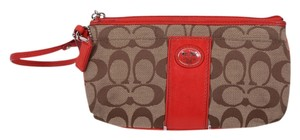 Coach Tote in Khaki/Red