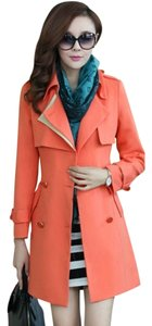 OASAP Double Breasted Navy Orange Blue Trench Coat