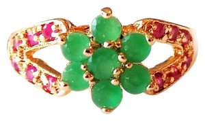 Other Lovely Natural Green Emerald and Red Ruby 925 Sterling Silver Ring 8