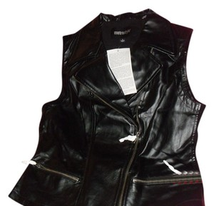 Metro Style Genuine Leather Stretch Ponte And Sides Leather Moto Silvertone Zipper Vest