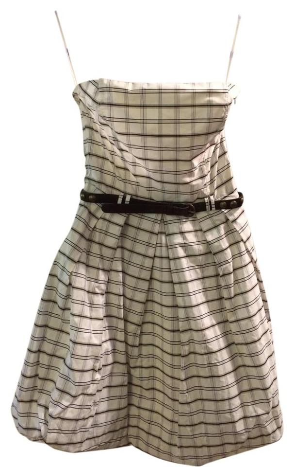 e0d0add9 Zara White Party Wedding Guest Plaid Bubble Above Knee Cocktail ...