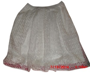 Anthropologie Mesh Lace Imported Skirt White