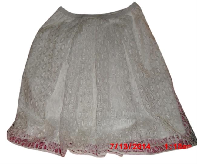 Anthropologie Mesh Lace Imported Fully Lined Pull On Styling Skirt White