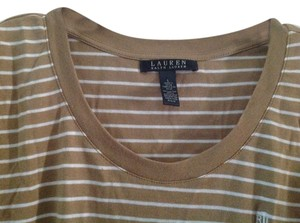 Ralph Lauren 100% Cotton Super Soft Though Knit Is Tight Holds Shape T Shirt Tan and white stripe