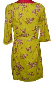 Old Navy Yellow Floral Polyester Machine Washable 3/4 Sleeves Dress