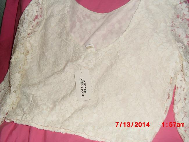 Forever 21 Lace Cropped Machine Washable Top Ivory