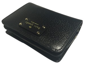 Kate Spade Kate Spade New York Wellesley Black/Black Cara Leather Clutch Wallet WLRU1745 New Just Released Model with Black Stitching