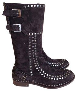 Laurence Dacade Suede Studded Buckle Dark Brown Boots