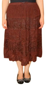 Alyne by Rita Vinieris India Gypsy Hippie Broomstick New Maxi Skirt Burgundy