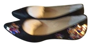 Nine West Gold-multi Leather Suede Black Flats