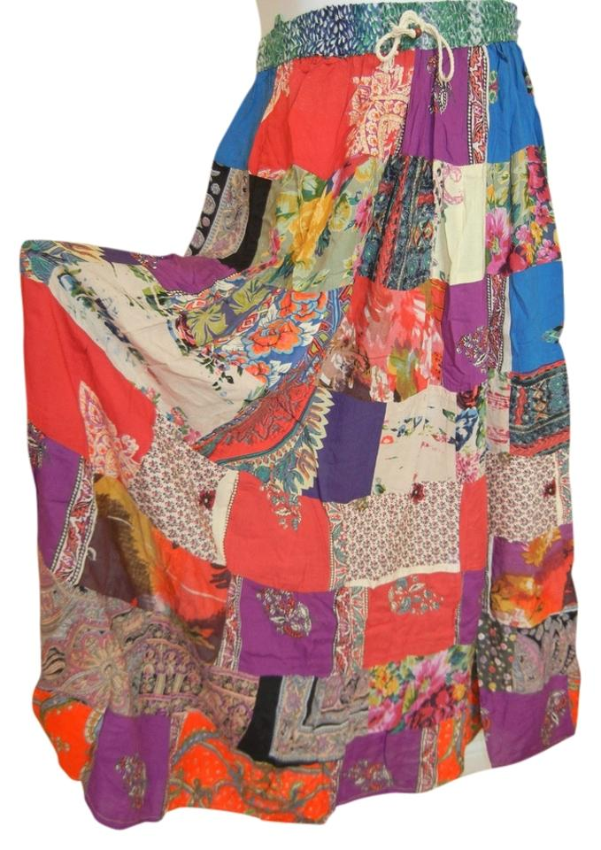 1ad87a7886 Multicolor Bohemian Patchwork India Gypsy Rayon Broomstick Skirt ...